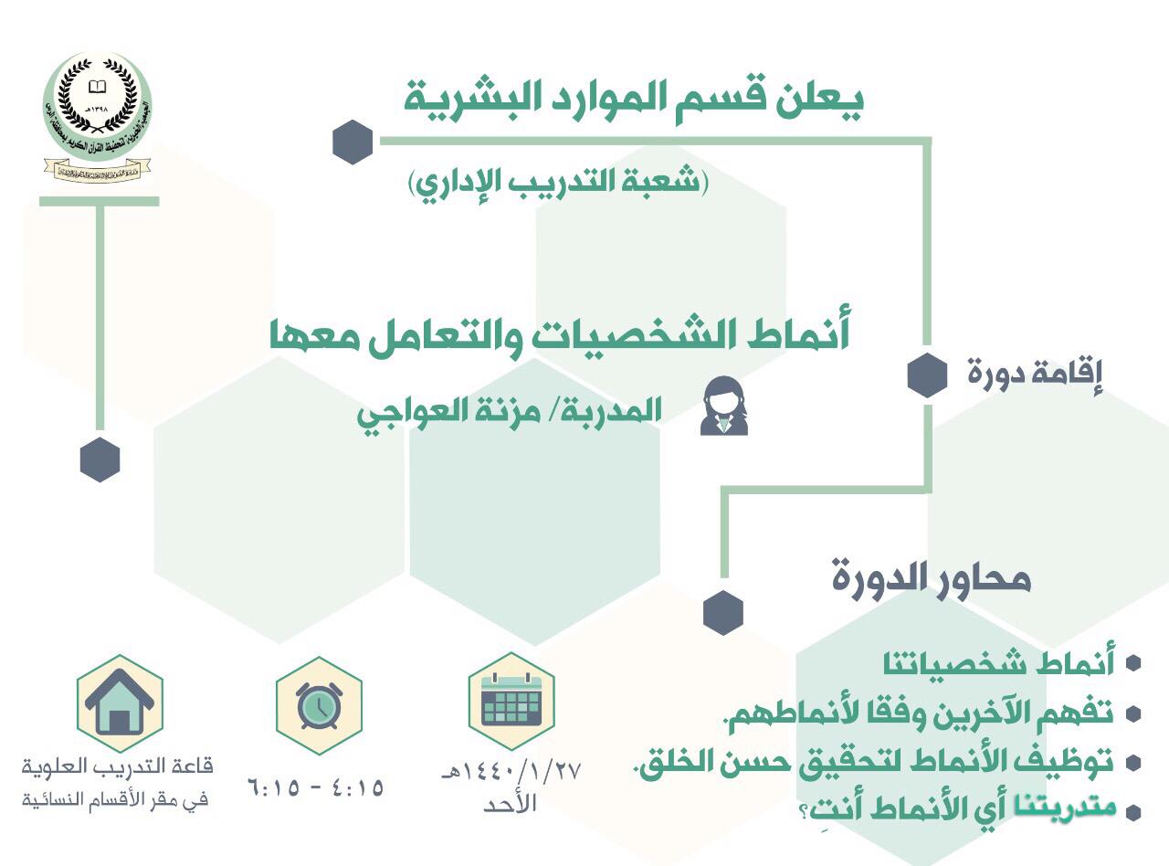 يعلن قسم الموارد البشرية ممثلاً بشعبة التدريب الإداري عن إقامة دورة بعنوان (أنماط الشخصيات والتعامل معها) لمنسوبات الجمعية